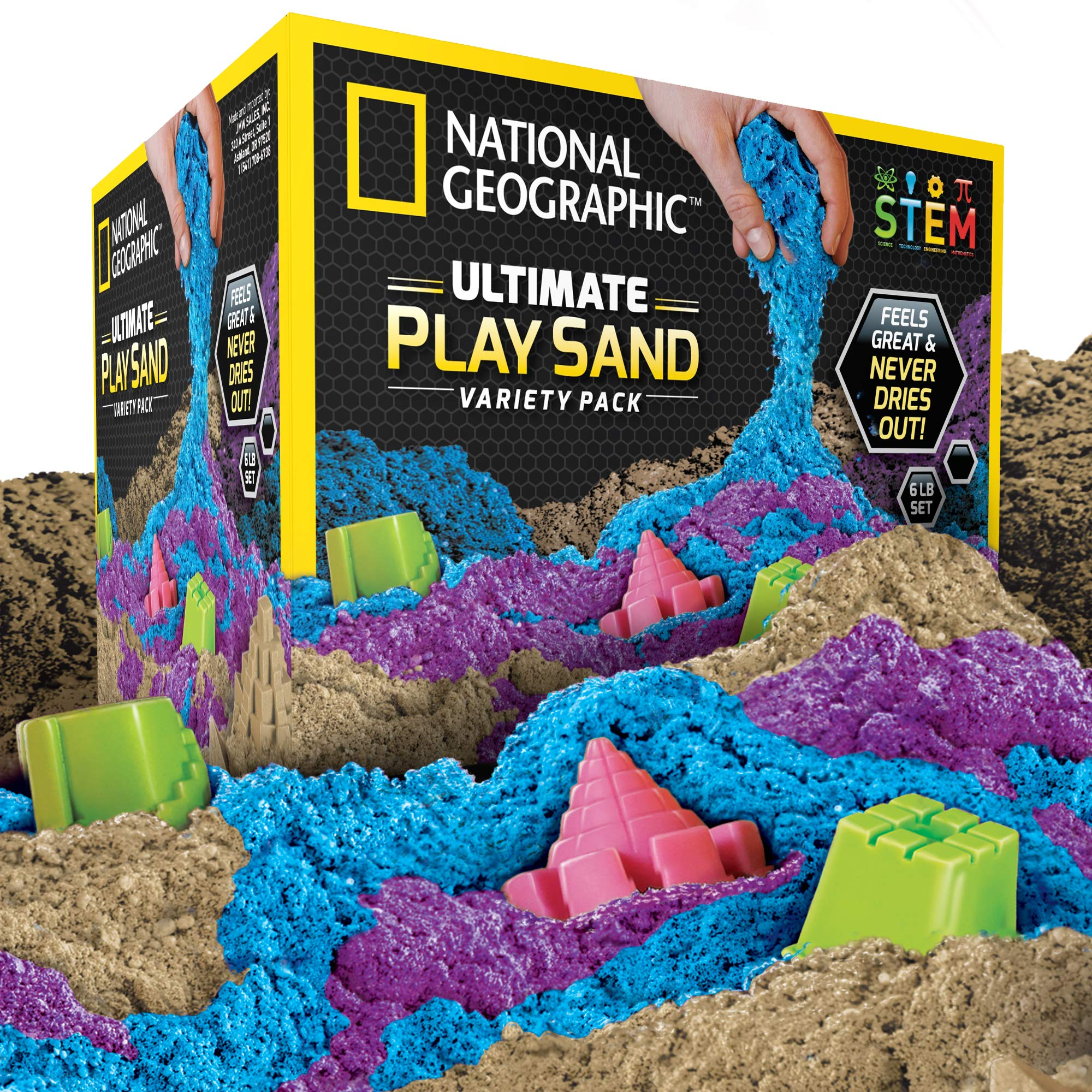 NATIONAL GEOGRAPHIC Play Sand Combo Pack - 2 LBS each of Blue, Purple and Natural Sand with Castle Molds - A Kinetic Sensory Activity by NATIONAL GEOGRAPHIC