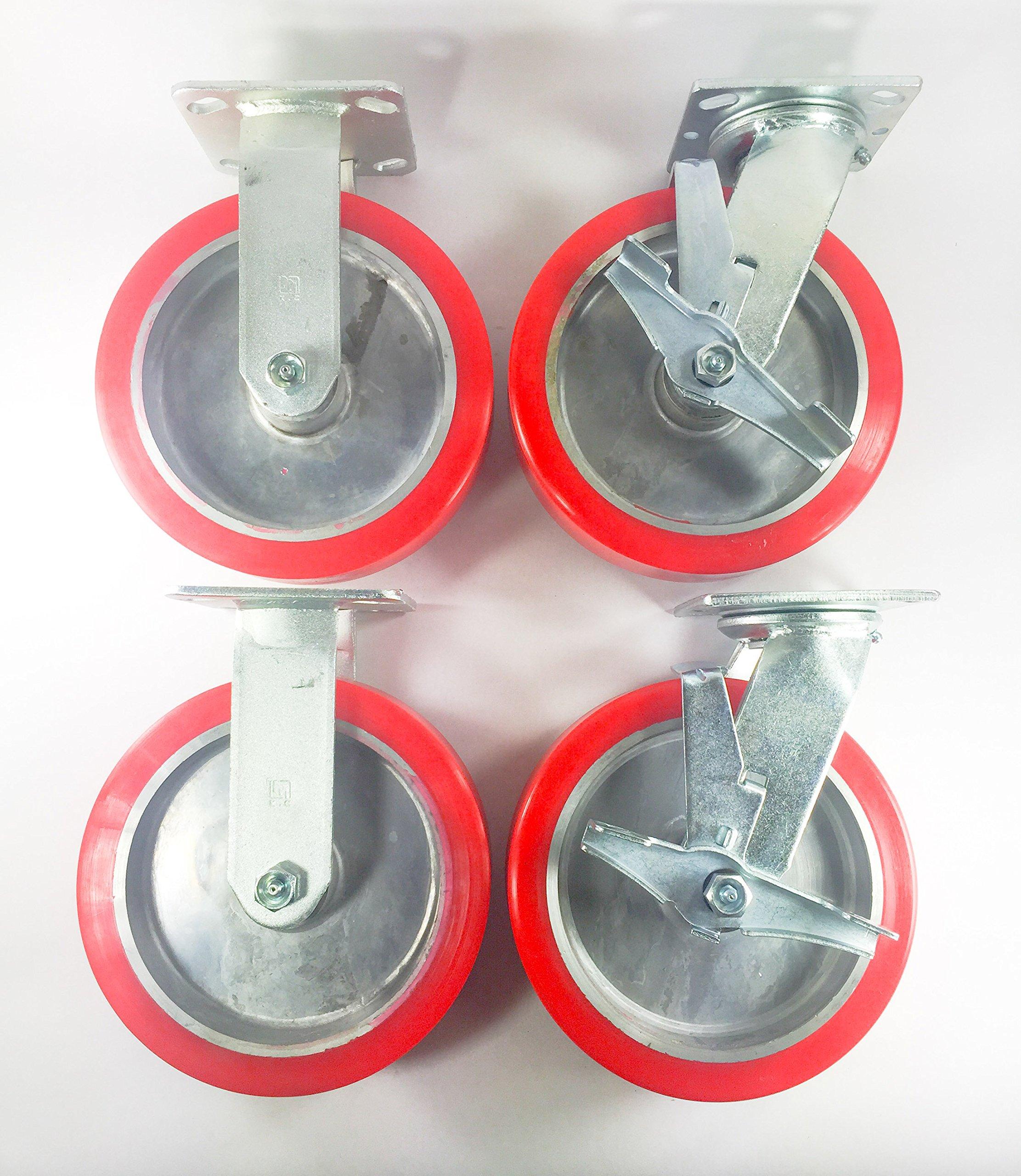 8'' X 2'' Polyurethane on Aluminum Caster - Rigid (2ea) & Swivel with Brake (2ea)