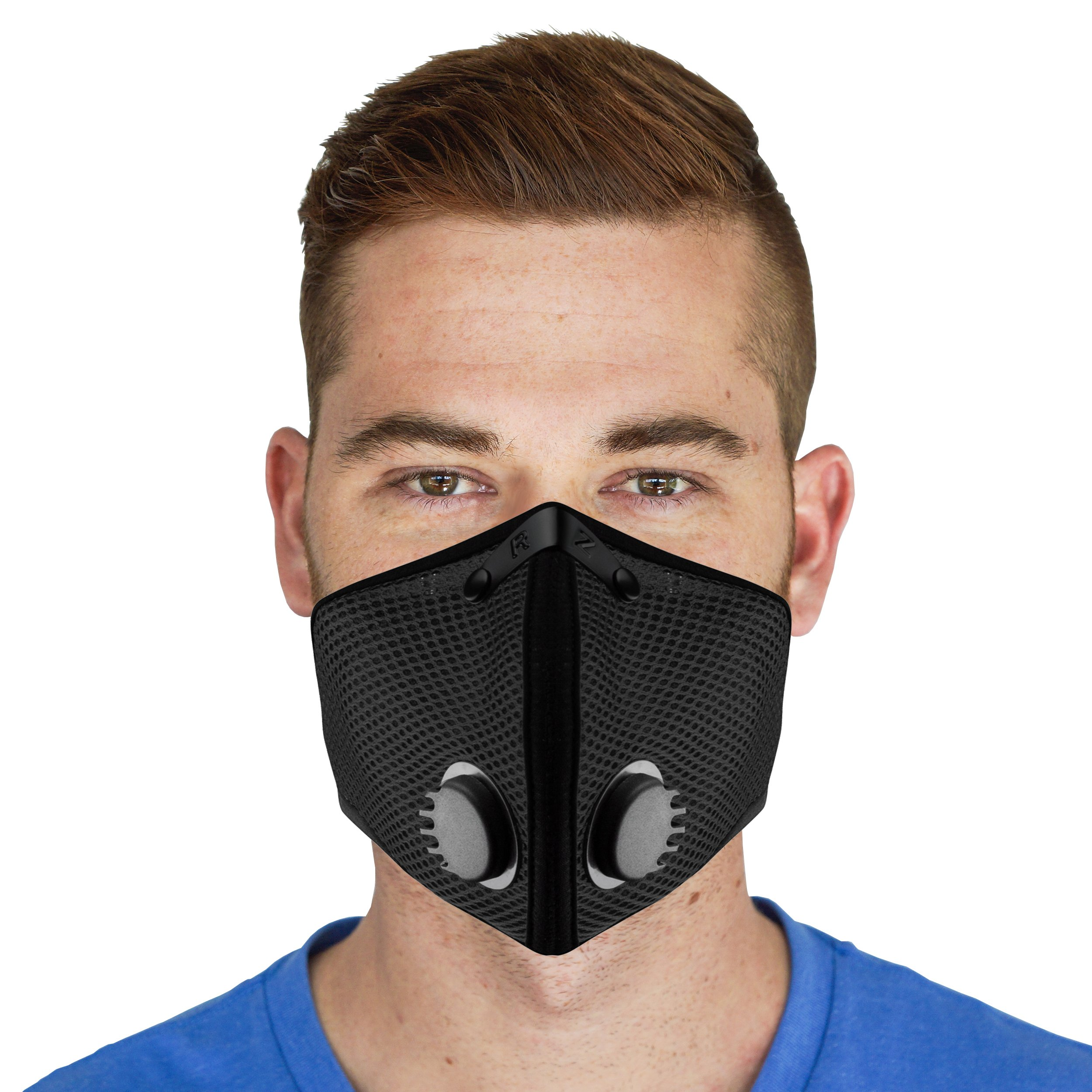 RZ M2.5 Dual Strap Mesh Dust/Air Filtration Mask Bonus Pack Mask Washable New Adjustable Straps Allergy/Asthma/Construction/Woodworking/Pollution/Adult (Large (125lbs - 215lbs), Black) by RZ Mask (Image #6)