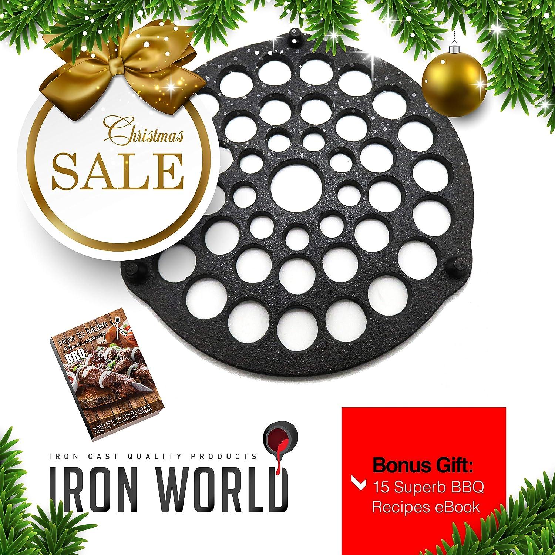 Cast Iron Meat Rack/Trivet By Iron World | Hand Made, Black, Pre Seasoned | Free Bonus BBQ Recipes eBook