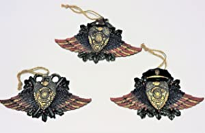 Police Officer Theme Christmas Ornaments featuring Police Badge, Gun, Duty Cap, and Handcuffs on background of holly and patriotic wings - Hand Painted, Set of 3