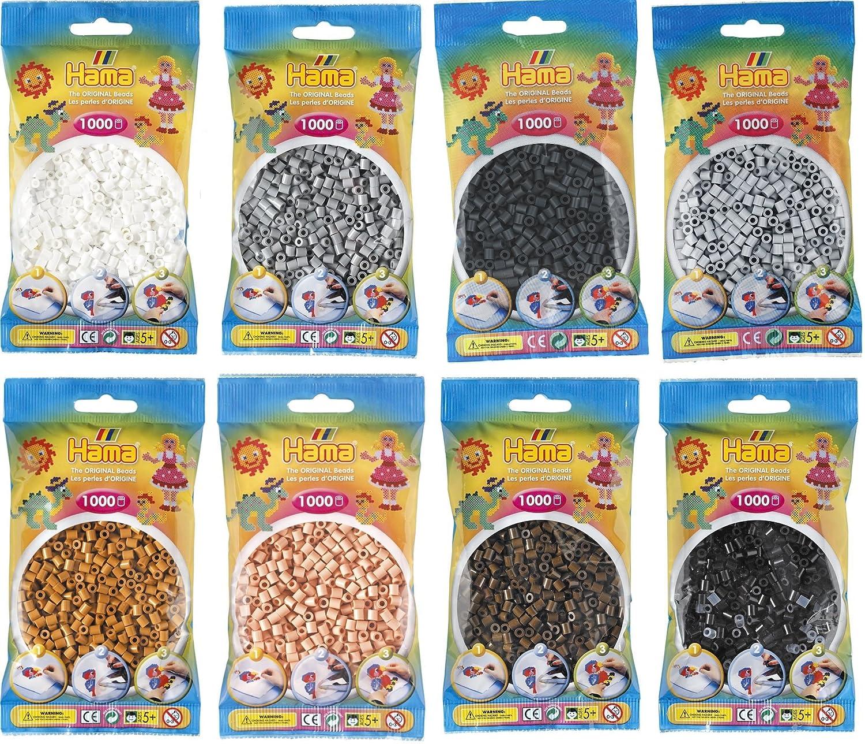 Wei/ß,Gelb,Rot,Lila,Gr/ün,Blau,Braun,Schwarz Hama Happy Price Toys Midi B/ügelperlen Konvulut 8X Vollton Farben