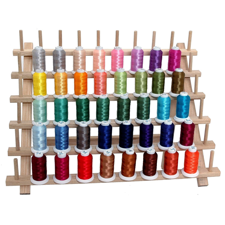 Polyester Embroidery Thread Set - 40 Spools (500 meter spools/40 wt.) - Set B Jewel Colors Threadart BCACS32101 POLY500B