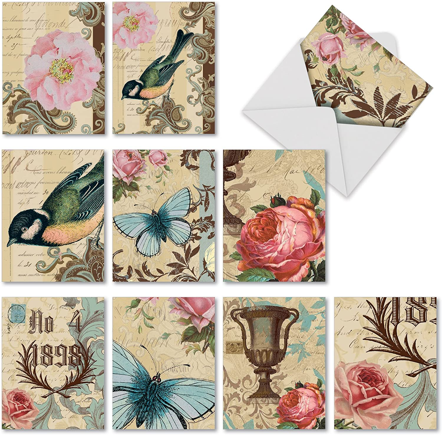 The Best Card Company - 10 Bird Note Cards Blank (4 x 5.12 Inch) - All Occasion Cards with Envelopes, Boxed Set - Victorian Garden