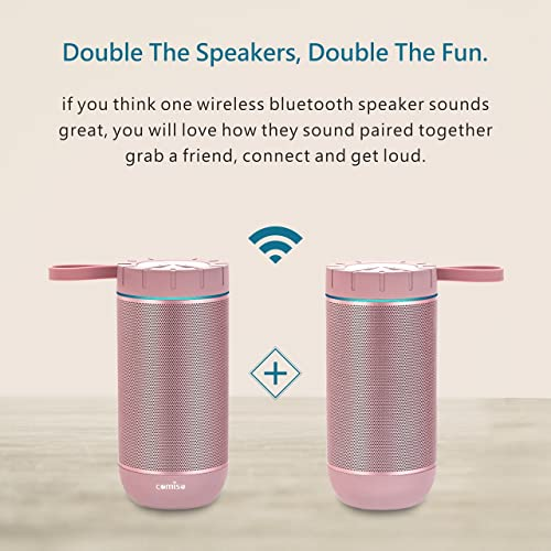 COMISO Waterproof Bluetooth Speakers Outdoor Wireless Portable Speaker with 20 Hours Playtime Superior Sound for Camping, Beach, Sports, Pool Party, Shower Rose Gold