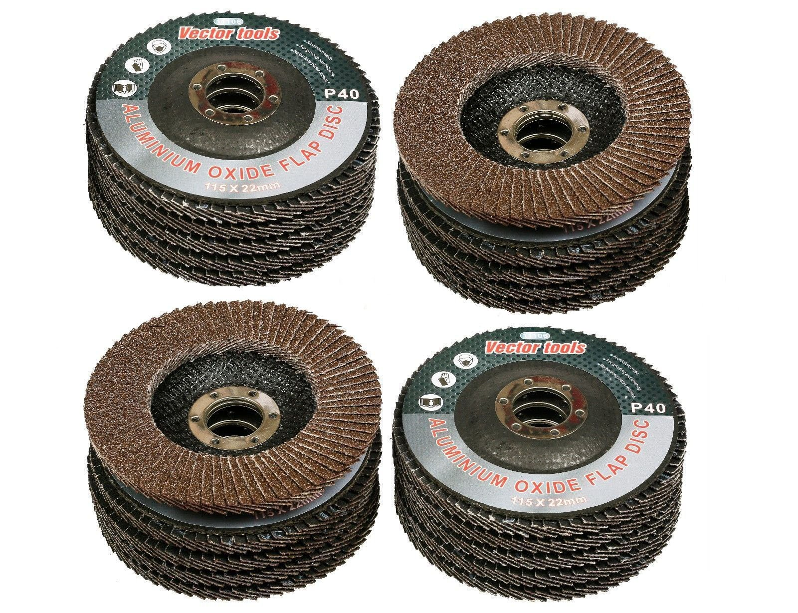 GHP 20-Pcs 4-1/2'' 180 Grit 13300RPM Resin Fiber Aluminum Oxide Sanding Flap Discs by Globe House Products