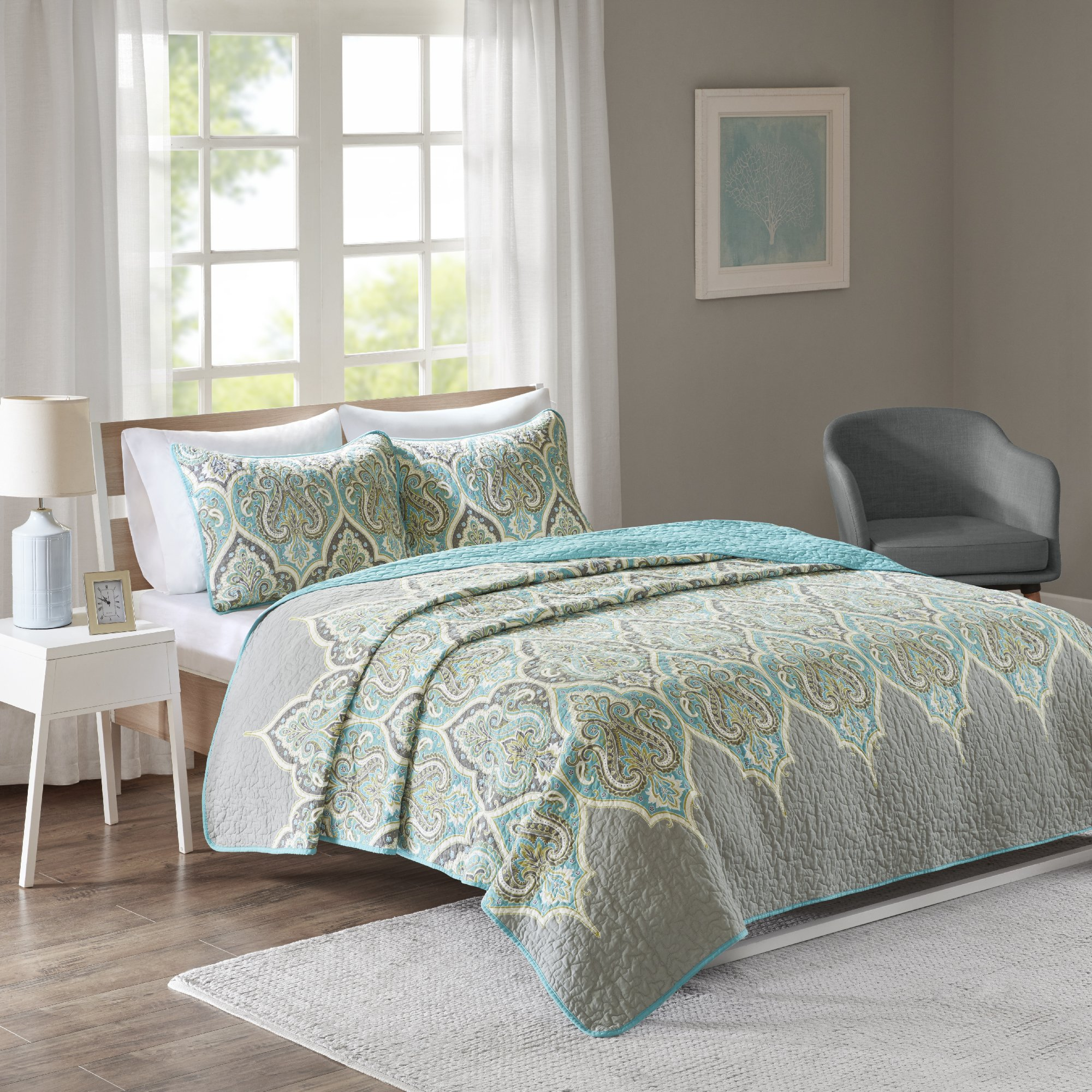 Comfort Spaces Mona Cotton Mini Quilt Set - 3 Piece - Paisley Pattern - Teal Grey - Full/Queen size, includes 1 Quilt, 2 Shams