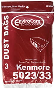 3 Kenmore Sears Allergy Vacuum BAG, Canister Vacuum Cleaners, 5023-5033 bag changed to Kenmore type E for manufacture model # 609196, 116.25950
