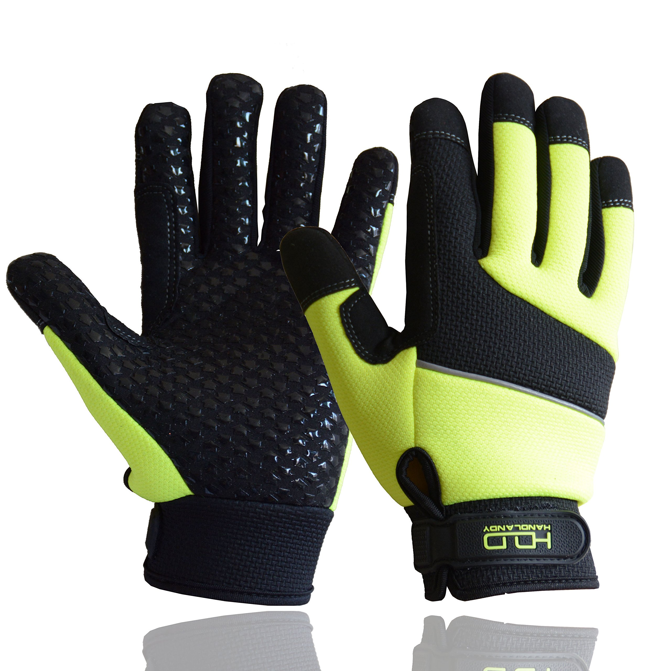 HI-VIS Safety Work Gloves Cut Resistance Level 5 Heavy Utility Firm Grip Mechanic Working Gloves Reflective Yellow (Large)