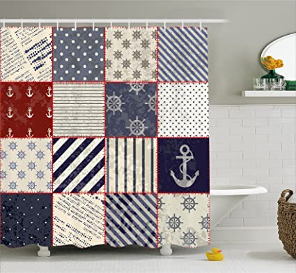 Ambesonne Farmhouse Decor Shower Curtain By, Marine And Nautical Life  Design With Vintage Sailor Knots
