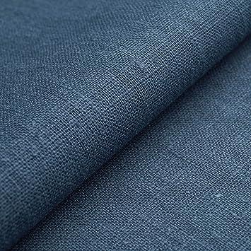 Auténtico Lino Ecológico BASIC - Tela de lino natural y pura - Por metro (Azul grafito): Amazon.es: Hogar
