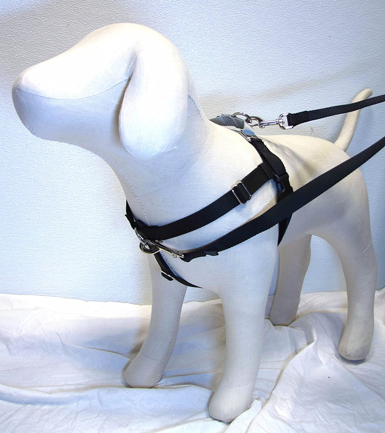 5 8  Wide XSmall Freedom No-Pull Harness AND 4-Configuration Training Leash PACKAGE Direct from Inventor (Black w Silver Loop)