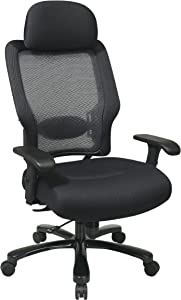 SPACE Seating Big and Tall Dual Layer AirGrid Back and Padded Black Mesh Seat, 2-Way Adjustable Arms, Tilt Tension and Lumbar Support with Gunmetal Finish Base Exucutives Chair with Adjustable Headrest