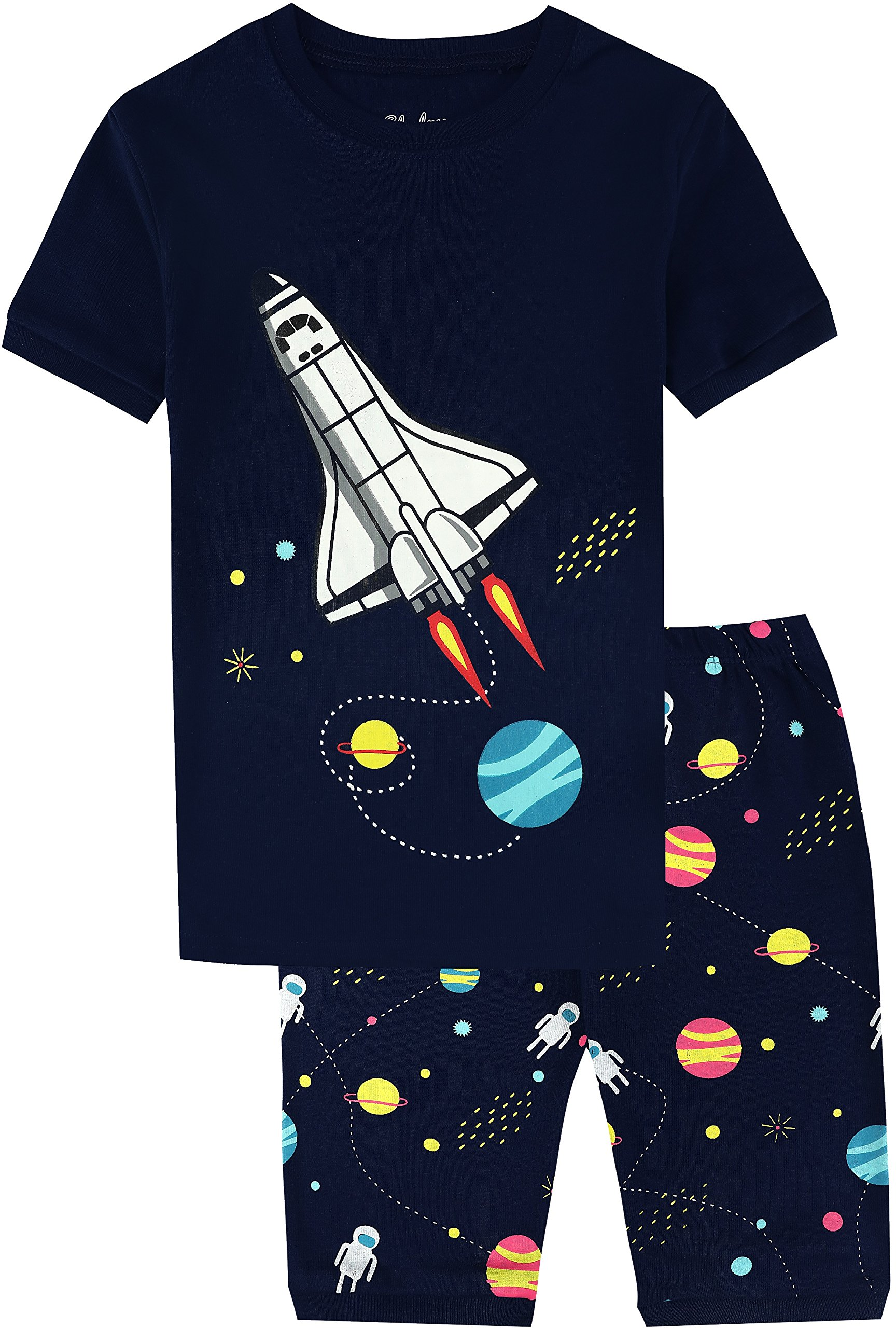 Boys Rocket Pajamas 2 Pieces Short Set 100% Summer Cotton Sleepwear for Kids PJS Size 6