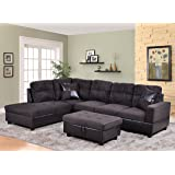 Beverly Furniture 3 Piece Microfiber and Faux Leather Upholstery Right-facing Sectional Sofa Set with Storage Ottoman, Chocolate