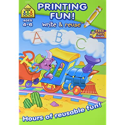 School Zone Write & Reuse Workbook, Printing Fun - Ages 4-6: Arts, Crafts & Sewing