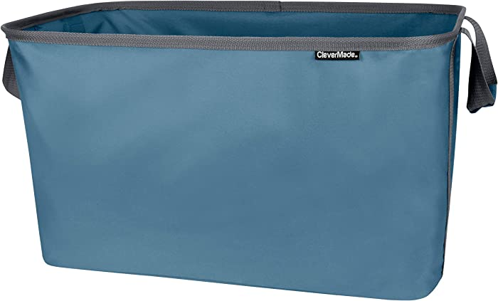 CleverMade Collapsible Fabric Laundry Basket - Foldable Pop Up Storage Container Organizer - Space Saving Hamper with Carry Handles Extra Large, One Size Denim/Charcoal