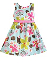Sunny Fashion Girls Dress Blue Flower Print