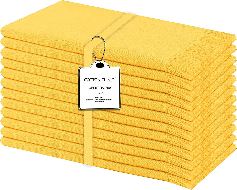 Servilletas de tela con flecos decorativos, paquete de 12, Lino ...
