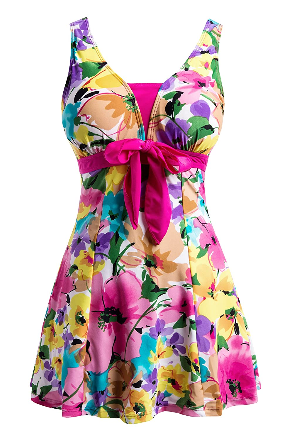 Wantdo Women's Floral Swimdress Modest Swimwear Slimming Push Up Skirtini Swimsuit WT4312