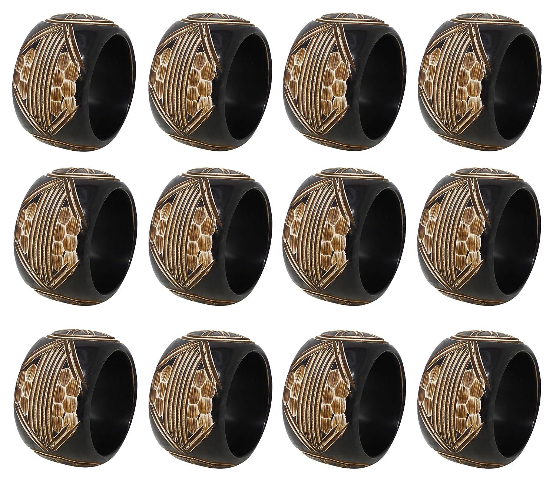 SKAVIJ Vintage Inspired Napkin Rings for Wedding Parties Everyday Use, Set of 6 Vintage Brown M-SNR-012-6