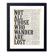 Not All Those Who Wander Are Lost Typography Upcycled Vintage Dictionary Art Print 8x10