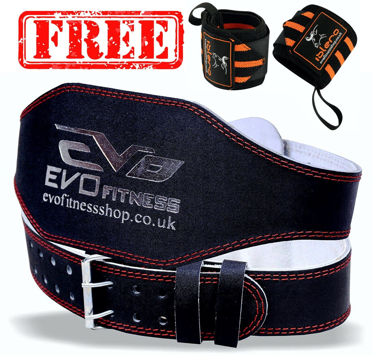 EVO Fitness 4 Pure Leather Gym Belts FREE Weightlifting Straps Wrist Wraps Back Support Bodybuilding