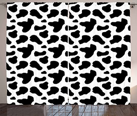 Cow Print Curtains By Ambesonne Hide Pattern With Black Spots Farm Life Cattle