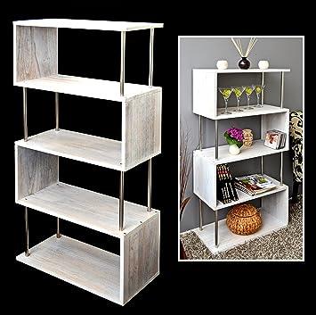 Ts Ideen Massivholz Regal Wandregal Bücherregal Regalwand Raumteiler In  Shabby Weiß Für Wohnzimmer, Büro