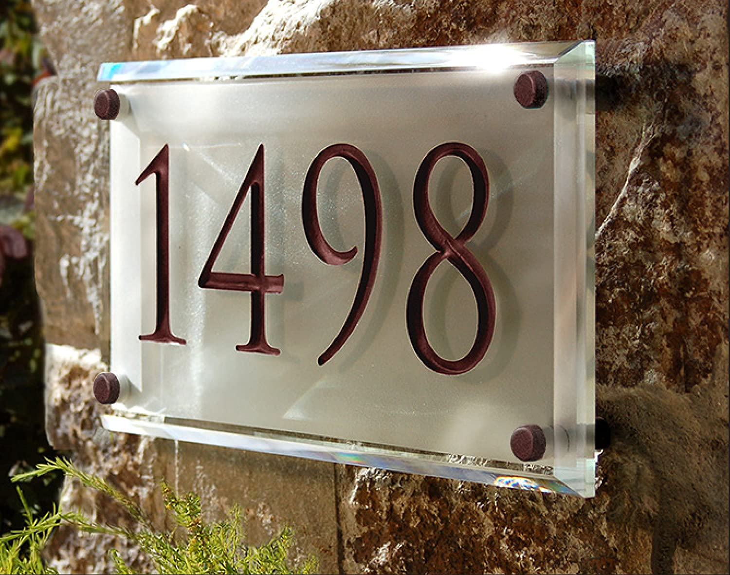 Lighted Address Sign Part - 39: Amazon.com : Engraved Crystal Address Plaque. Unique And Elegant! : Garden  U0026 Outdoor