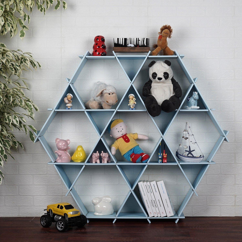 LaModaHome Cardboard Shelf 100% Corrugated Cardboard (45.3'' x 39.4'' x 6.7'') Blue Hexagon Triangle Bedroom Design Decorative Kid Storage Shelf Multi Purpose