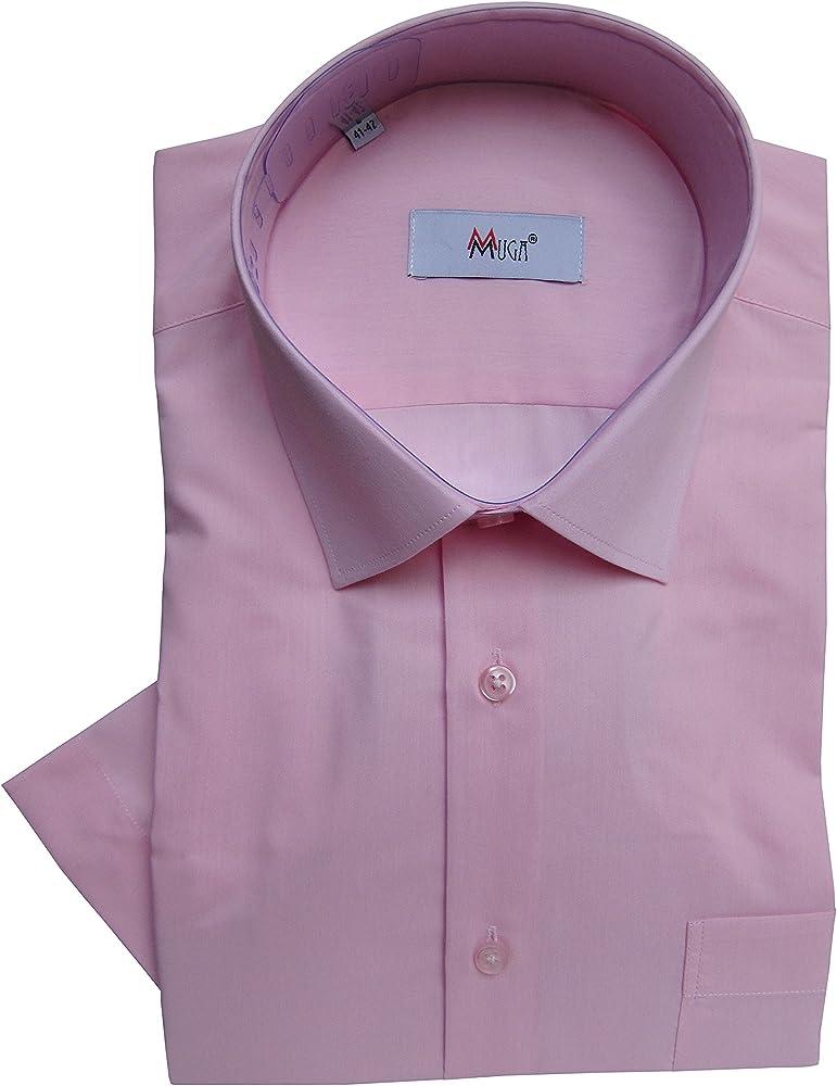 MUGA - Camisa Formal - Básico - Cuello Kent - Manga Corta - para Hombre Rosa Claro Small: Amazon.es: Ropa y accesorios