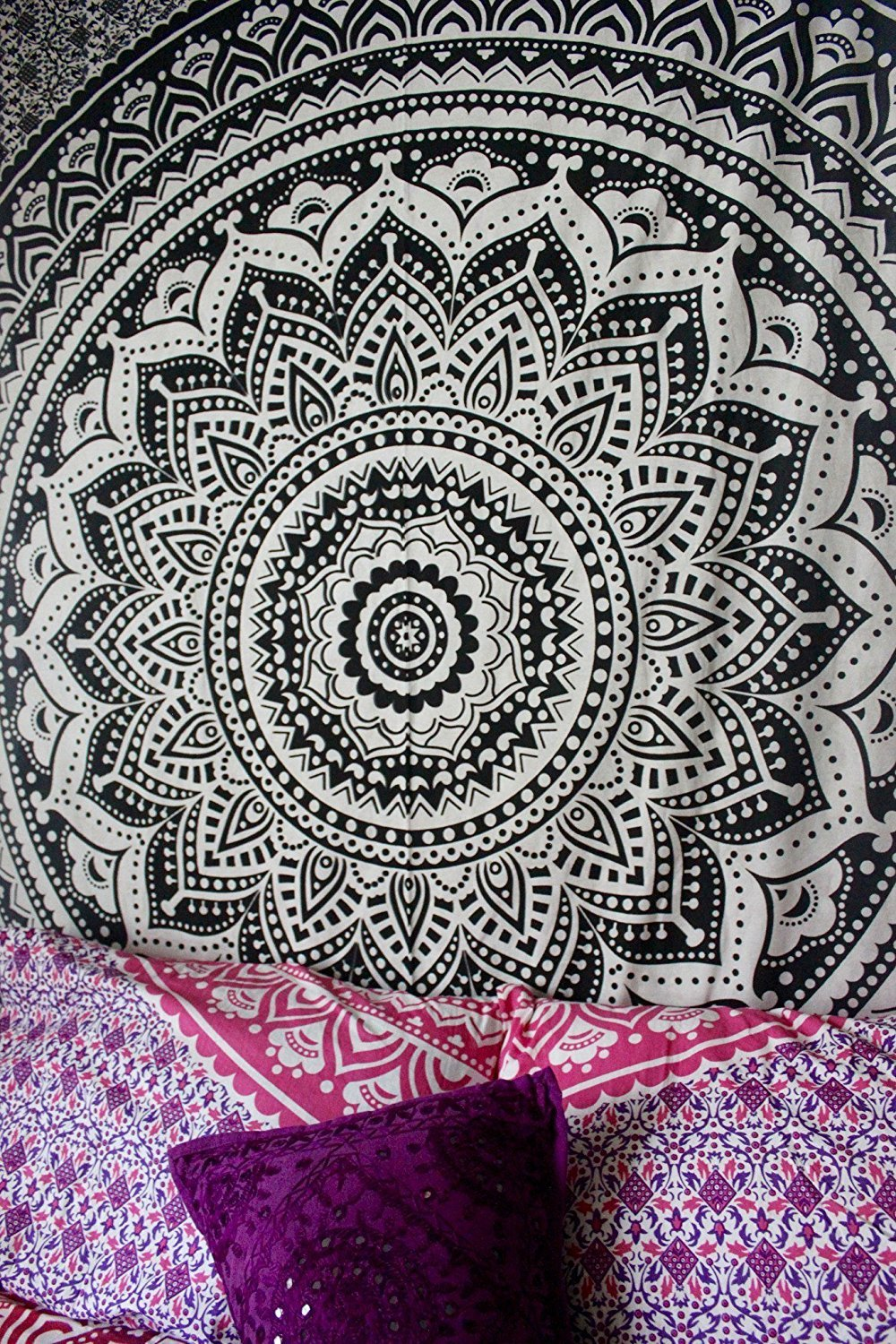 Exclusive ''Black and White Ombre Tapestry by JaipurHandloom'' Mandala Tapestry, Queen, Multi Color Indian Mandala Wall Art Hippie Wall Hanging Bohemian Bedspread by Jaipur Handloom