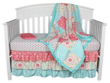 Gia Floral CoralAqua 4in1 Baby Girl Bedding Set By The