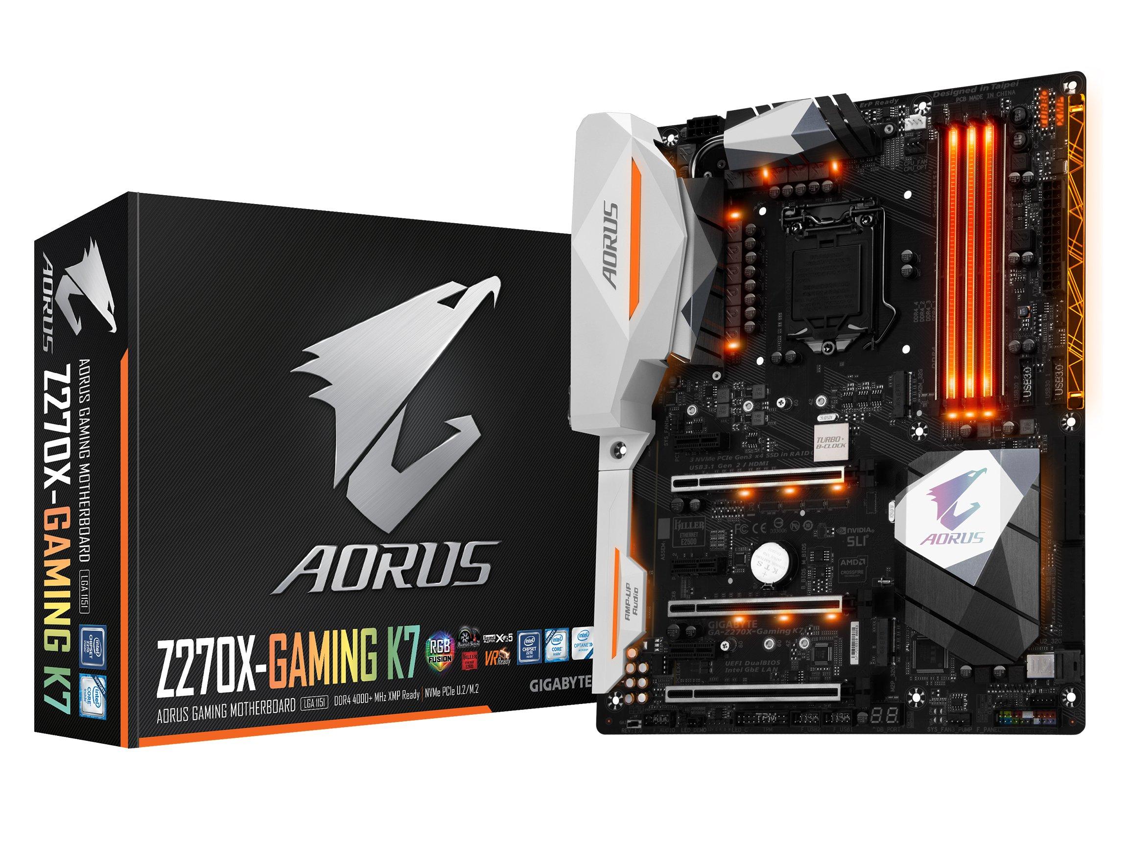 GIGABYTE AORUS GA-Z270X-Gaming K7 Gaming Motherboard LGA1151 Intel Z270 2-Way SLI ATX DDR4 Motherboard by Gigabyte