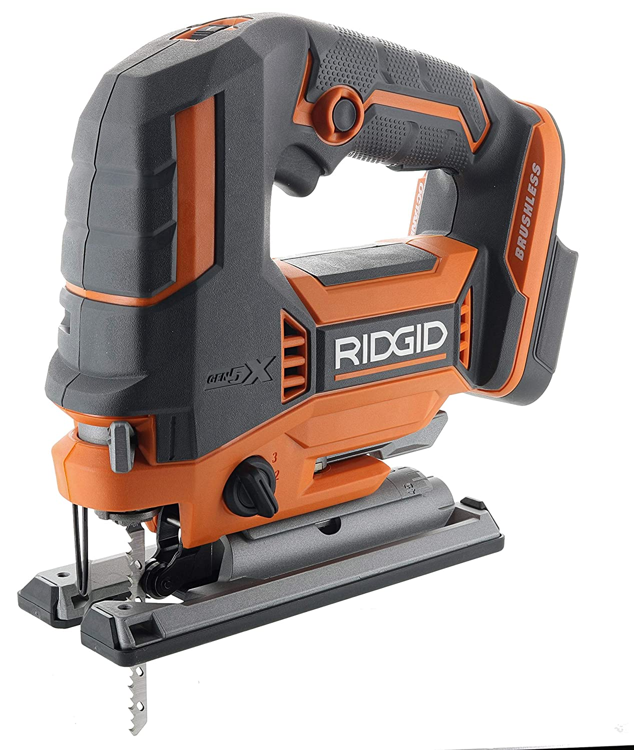 Ridgid R8832B OCTANE 18V Lithium Ion Cordless Brushless Jig Saw w Dust Blower and Orbital Action Battery Not Included Power Tool Only