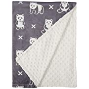 Boritar Baby Receiving Blanket Super Soft Minky with Double Layer Dotted Backing, Cute Panda Printed 30 x40