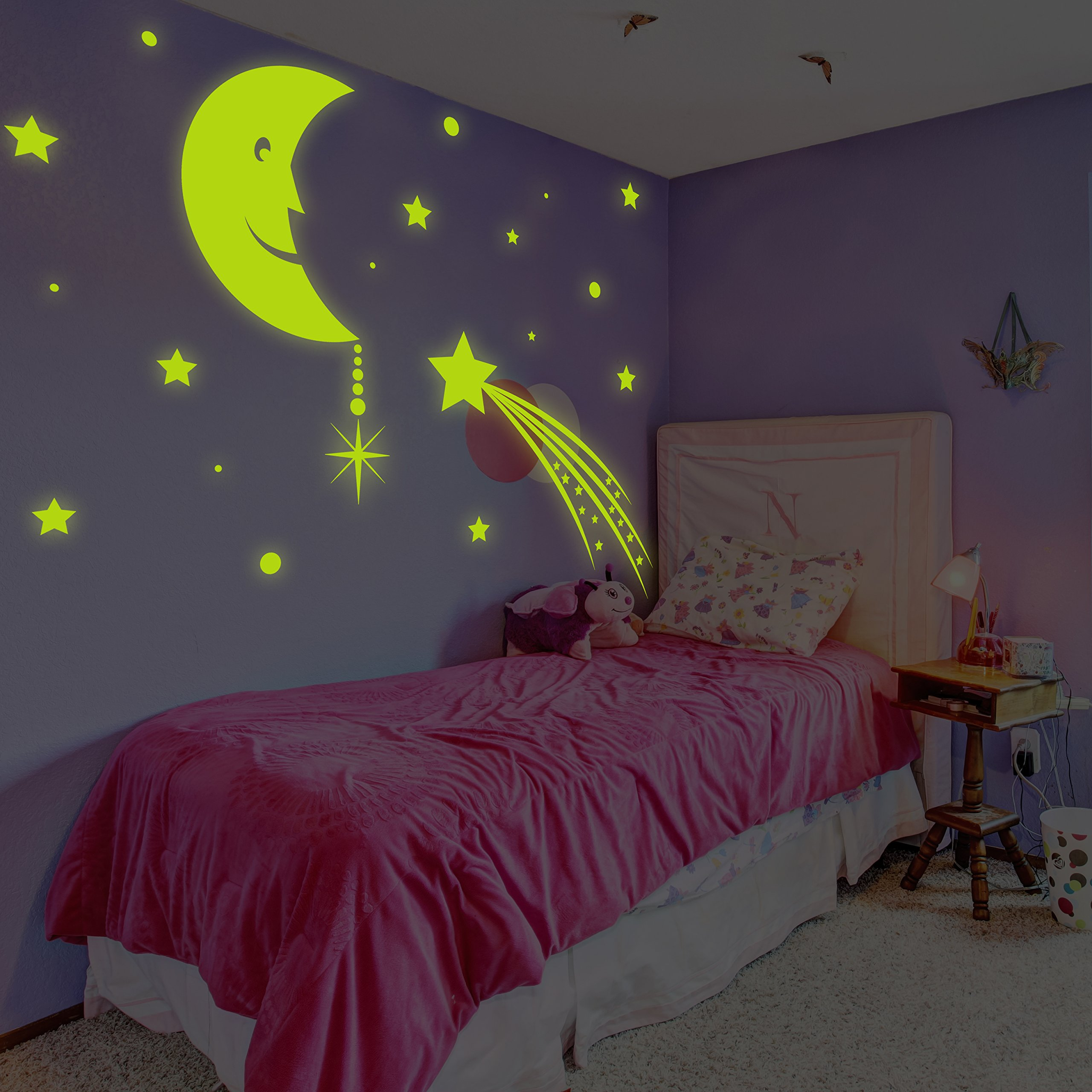 ( 71'' x 53'' ) Glowing Vinyl Wall Decal Moon with Stars Sky / Glow in the Dark Decor Sticker / Сrescent Luminescent Mural Kids, Baby Room + Free Decal Gift