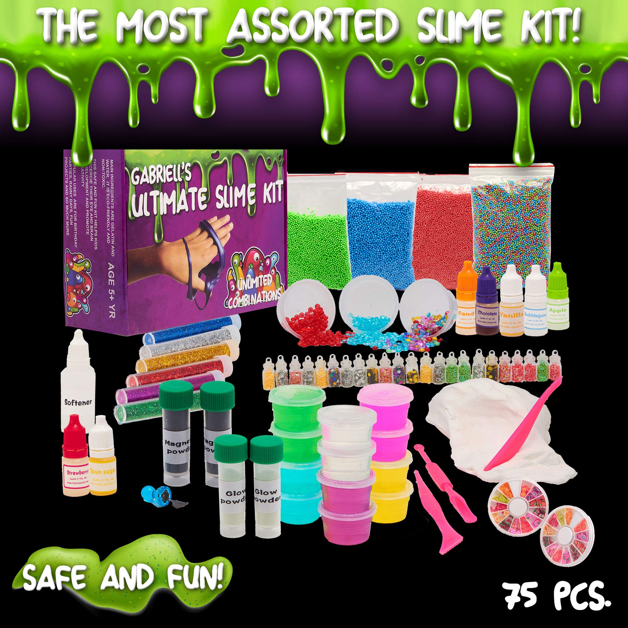 Ultimate Slime Kit Supplies with Magnet Powder,Glow in the dark Powder, 7 Different scents and over 75 different slime accessories by Gabriells