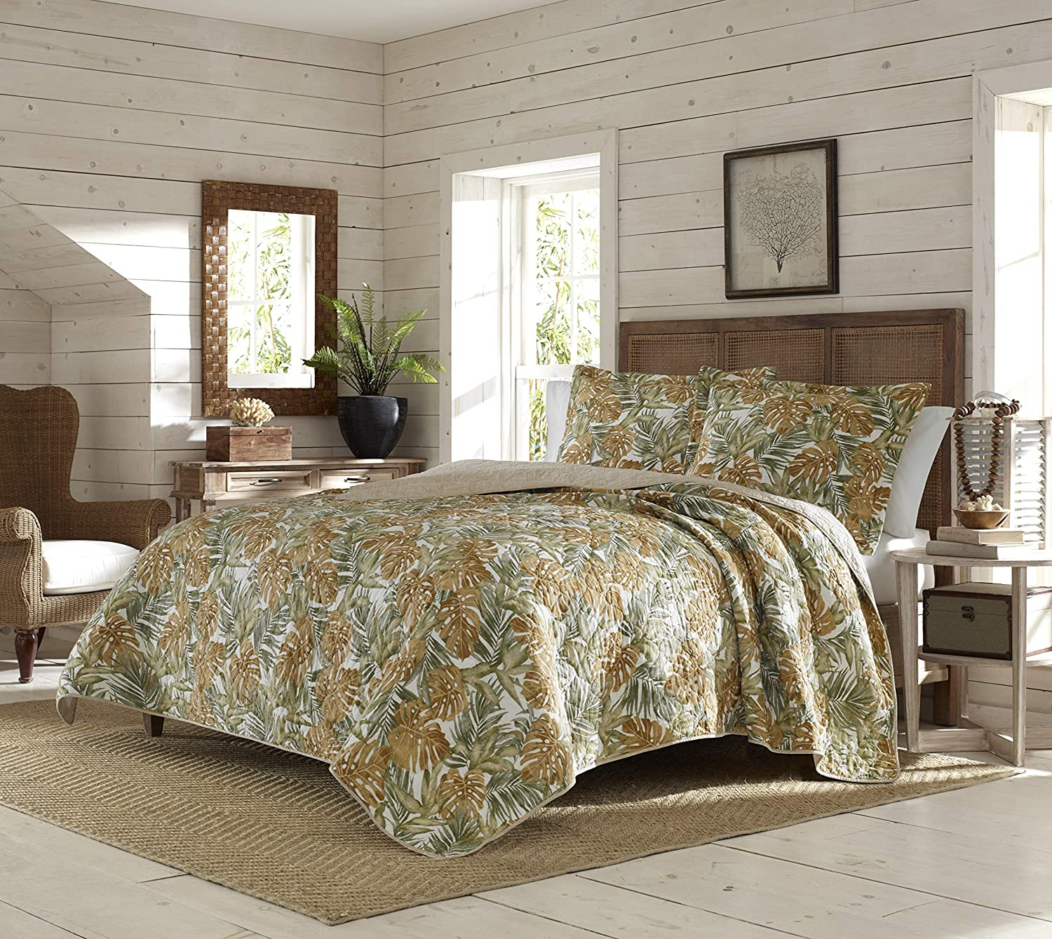 Tommy Bahama | Newland Forest Bedding Collection | Luxury Quality Ultra Soft Cotton Quilt Coverlet 3 Piece Set, Comfortable & Stylish Design for Home Décor, King, Dark Yellow