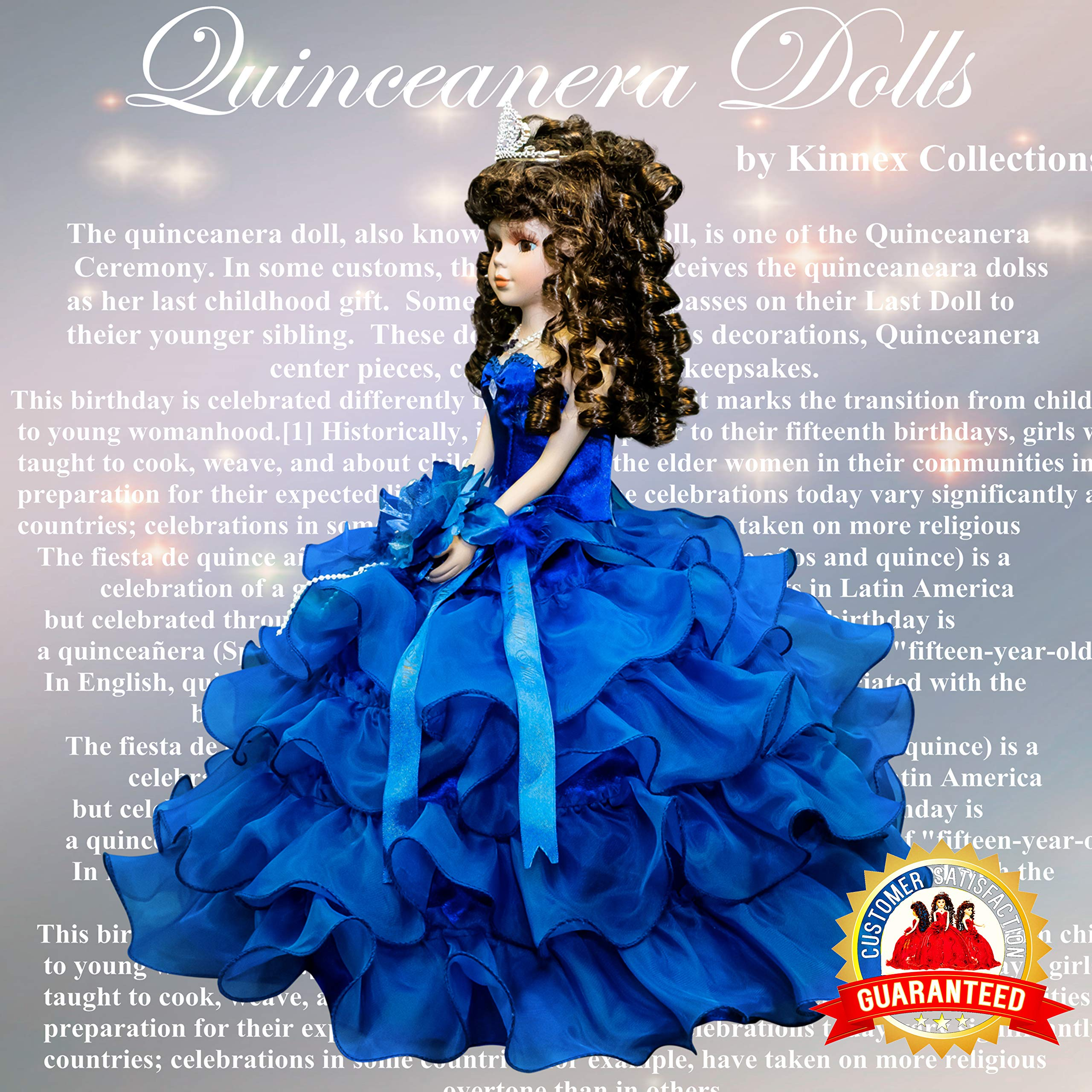 Kinnex Collections by Amanda 18'' Porcelain Quinceanera Umbrella Doll (Table Centerpiece) ~ Royal Blue ~ KW18728-15