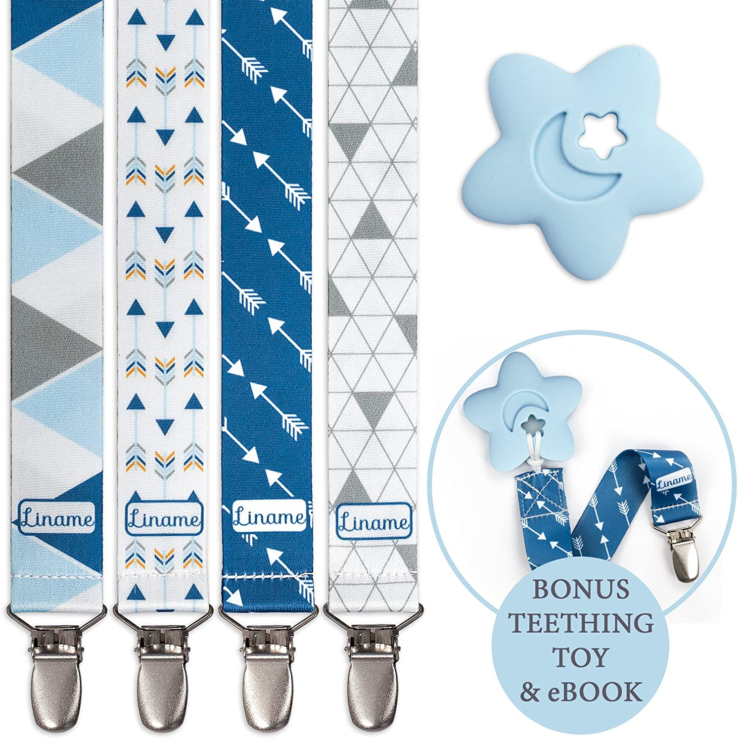 Liname Pacifier Clip for Boys with Bonus Teething Toy & eBook - 4 Pack Gift Packaging - Premium Quality & Unique Design - Pacifier Clips Fit All Pacifiers & Soothers - Perfect Baby Gift blue4