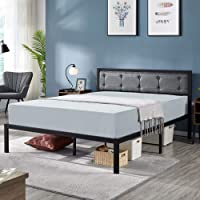 Deals on YAHEETECH Linen Upholstered Platform Bed/Premium Metal Bed