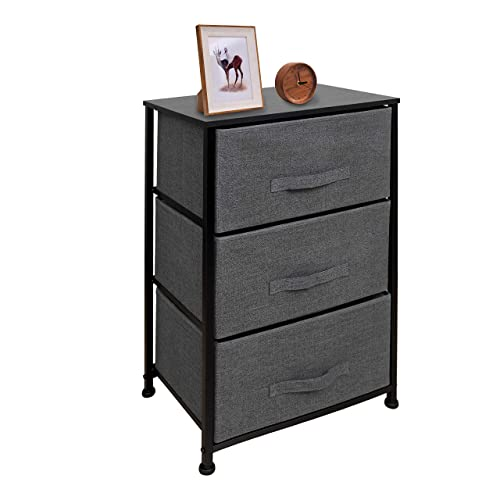 East Loft Nightstand Dresser Storage Organizer for Closet, Nursery, Bathroom, Laundry or Bedroom 3 Fabric Drawers, Solid Wood Top, Durable Steel Frame Charcoal