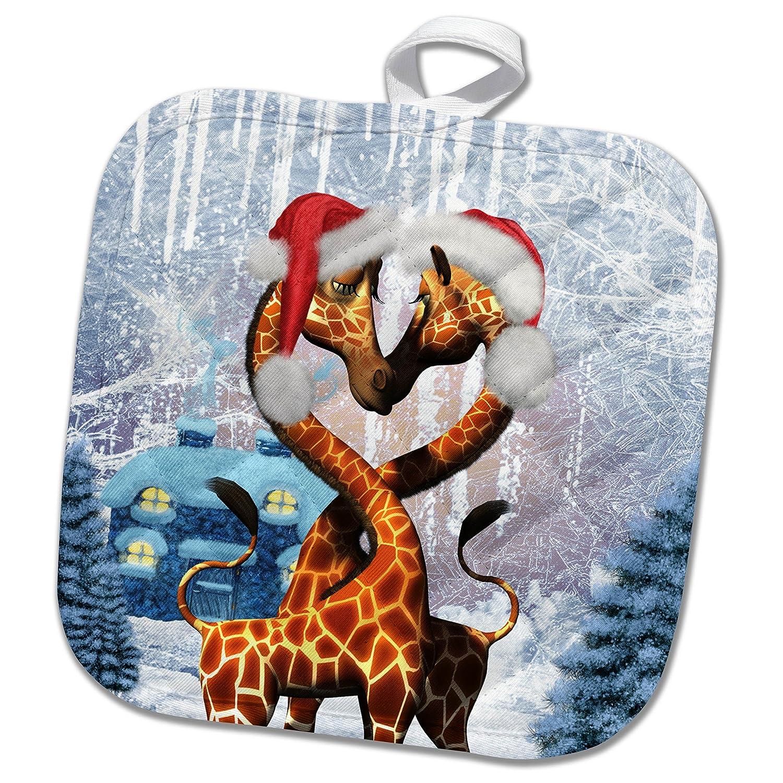 8 by 8 3dRose phl/_262387/_1 Pot Holder Cute Giraffe with Christmas hat