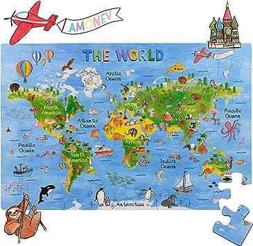 Rompecabezas Amagenius con diseño de mapa del mundo para mesa y suelo con piezas extragruesas: Amazon.es: Juguetes y juegos