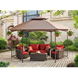 Sunjoy 114X 132 Madison Pavilion Hex Shape Soft Top Gazebo With Serving Shelf