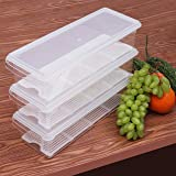 Kurtzy 3 Pack Acrylic Fridge Storage Organiser – Plastic Crisper Box - Stackable Refrigerator Container – Kitchen Organiser Bins for Meat, Small Condiments, Vegetable, Dairy and more