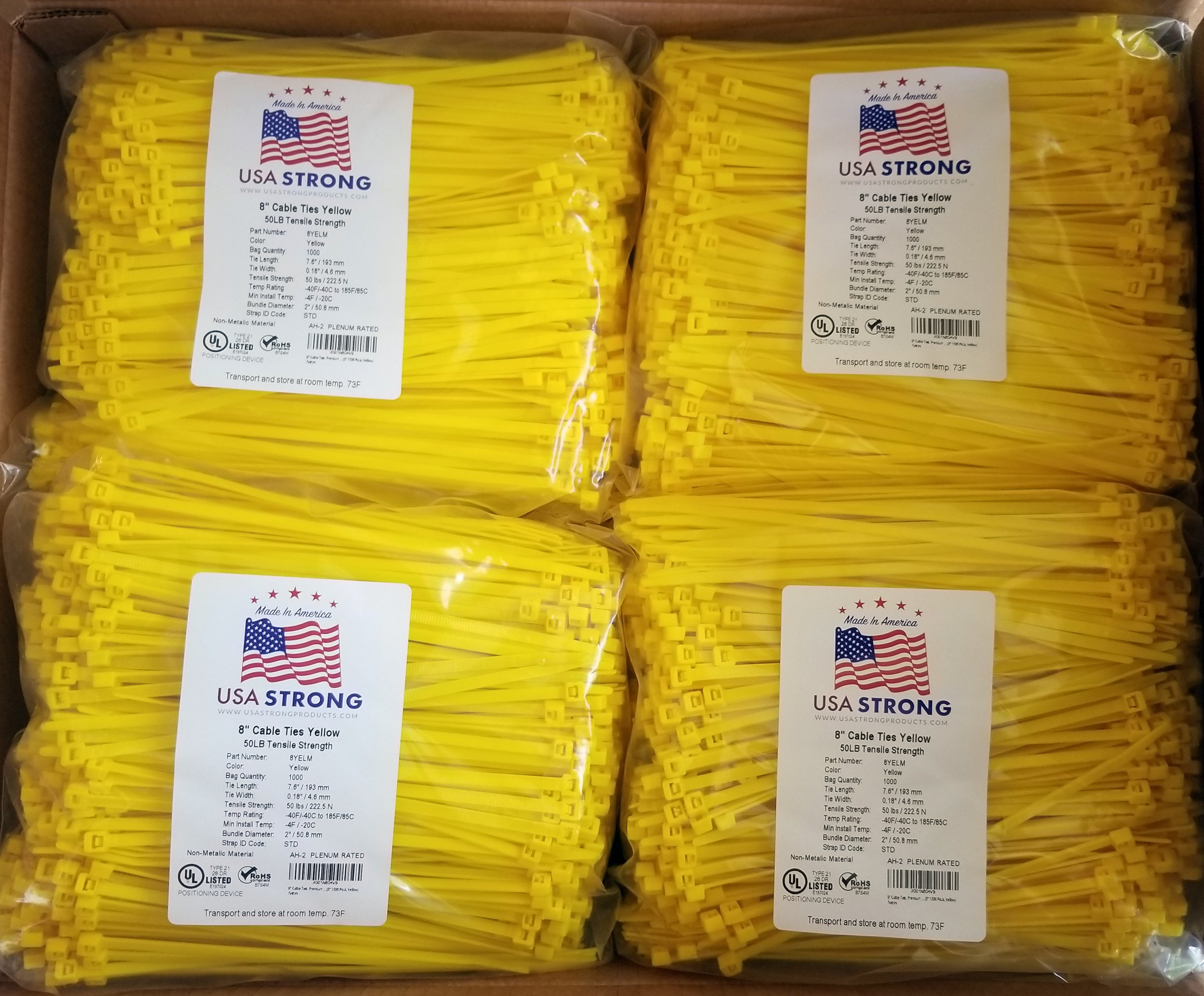 "8"" Cable Ties. Premium Nylon Wire Management Zip-ties. Several colors available in 1,000 piece pack or Bulk Wholesale Case Quantity. 50 LB Tensile. USA Strong Cable Ties (8'' Bulk 10,000 Case, Yellow) by USA Strong Cable Ties"