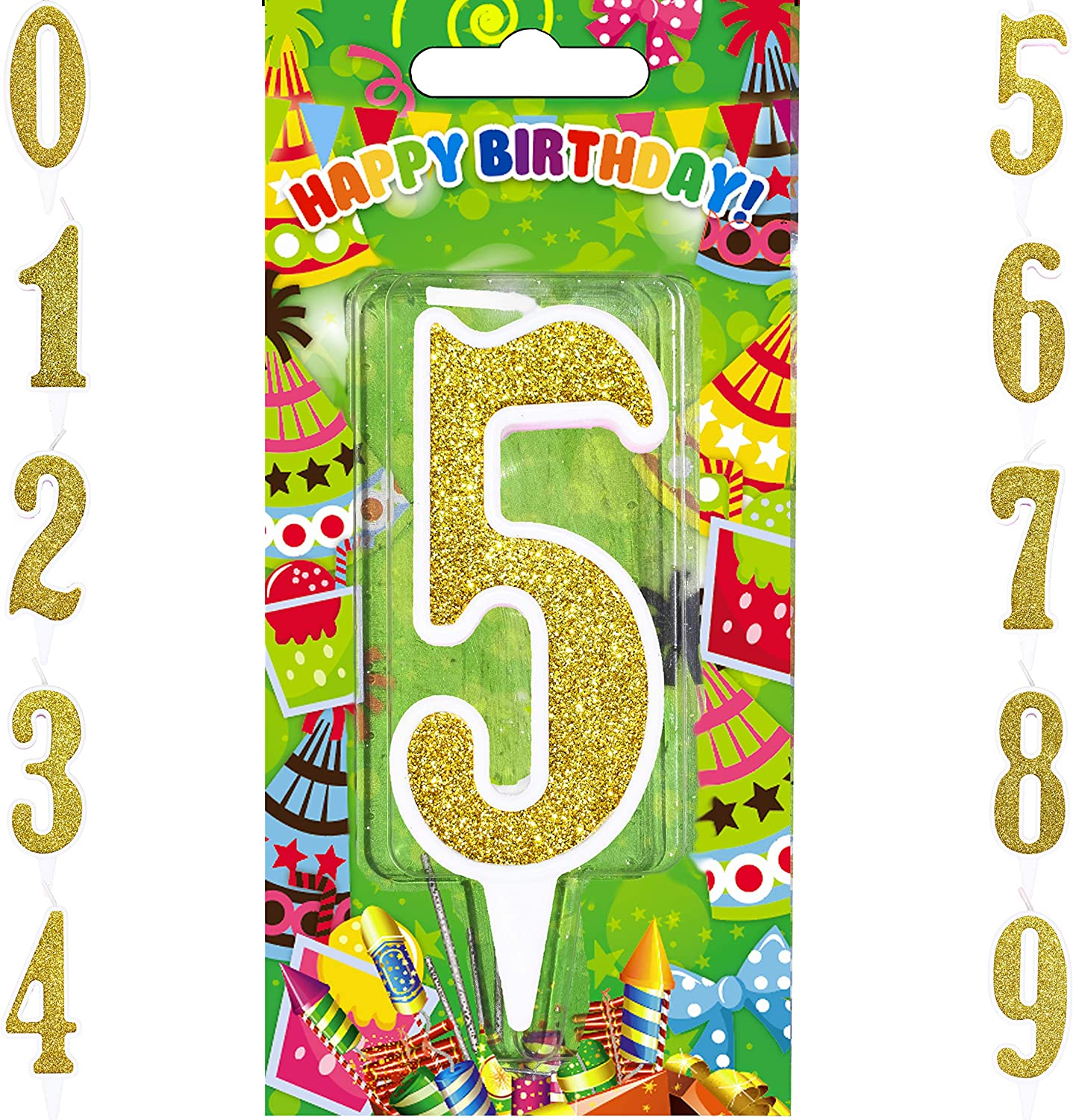 Agens Birthday Candles – Big Number Gold Birthday Candle – Cake Topper Decoration Numeral Candles (Gold, Number 5)